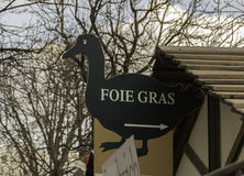Foie Gras sign, shaped like a goose. At a food fair in Paris, France Stock Images
