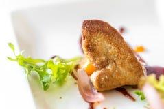 Foie gras som grillas arkivfoto