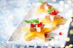 Foie gras on star-shaped toasts Royalty Free Stock Photo