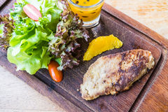 Foie gras steak with vegetable and sweet sauce Royalty Free Stock Photography