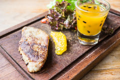 Foie gras steak with vegetable and sweet sauce Royalty Free Stock Photo