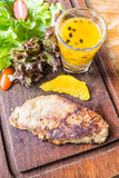 Foie gras steak with vegetable and sweet sauce Stock Photography