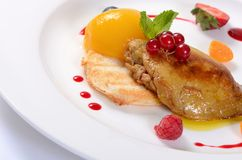 Foie Gras with toast and apricot Royalty Free Stock Photography
