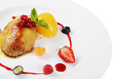 Foie Gras with toast and apricot Royalty Free Stock Images