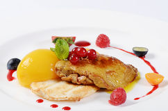 Foie Gras with toast and apricot Stock Photos