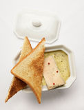 Foie Gras with toasts on the white tablecloth Royalty Free Stock Image