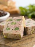 Foie Gras und Schätzchen-Lauch mit gerösteter Brioche Lizenzfreies Stockbild
