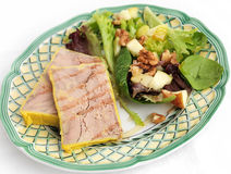 Foie gras with walnut salad Stock Image