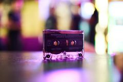 Foil audio cassette for tape recorder blurred background royalty free stock photography