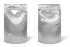 Foil bag package. On white background Stock Photos