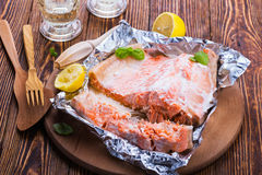 Foil baked salmon. Fillet, healthy main dish Stock Photos