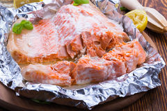 Foil baked salmon. Fillet, healthy main dish Royalty Free Stock Images