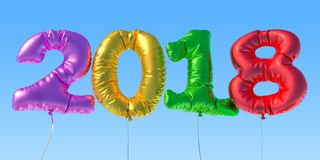2018 from foil balloons in the sky. 3D rendering. 2018 from foil balloons in the sky. 3D Royalty Free Stock Photos