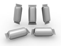 Foil cylinder wrap packet with clipping path Royalty Free Stock Photography