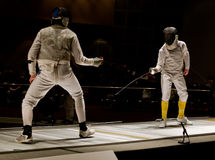 Foil Fencers In A Competitive  Stock Image