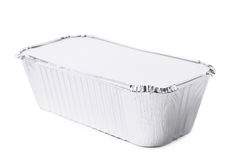 Foil Food Delivery Container Isolated Stock Photos
