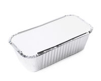 Foil food delivery container isolated. Over the white background Stock Photo