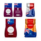 Foil food snack sachet bag packaging for coffee, salt, sugar, pepper, spices, sachet, sweets, chips, cookies colored in national. Flag of Australia. Made in vector illustration