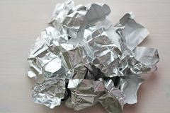 Foil. Metal crumpled background. Gray or silver background.  royalty free stock images
