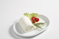 Mozzarella foil and salad Royalty Free Stock Image