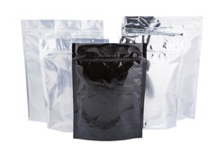 Foil package bag. Five Foil package bag isolated on white with clipping path Royalty Free Stock Photo