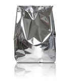 Foil package bag isolated on white Stock Images