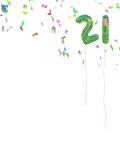 Foil style birthday balloons with confetti. 21 today. Celebratory age background on white. Adulthood at last Stock Photos