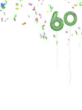 Foil style 60th birthday balloons with confetti. White backgroun Stock Image