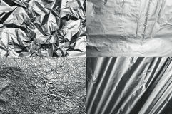Foil textures. Set of four metal foil textures Royalty Free Stock Photo