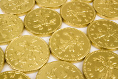 Foil wrapped chocolate coins Stock Image
