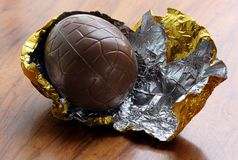 Foil wrapped chocolate egg Royalty Free Stock Images