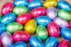 Foil wrapped chocolate eggs Stock Photo