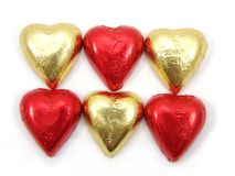 Foil wrapped chocolate hearts 1 Royalty Free Stock Photos