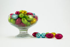 Foil wrapped Easter eggs. Brightly coloured foil wrapped easter eggs in a glass bowl Royalty Free Stock Photography