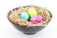 Foil easter eggs in a bowl Stock Photography