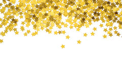 Foiled gold stars. Frame with stars. Scattered stars border. Natural foiled texture. Stock Photos