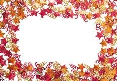 Foiled gouden linten en sterren Kader met linten Verspreide sterrengrens Royalty-vrije Stock Afbeeldingen