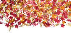 Foiled gouden linten en sterren Kader met linten Verspreide sterrengrens Royalty-vrije Stock Fotografie