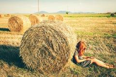 Foin dans les piles sur le champ Photo libre de droits