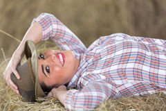 Foin menteur de cow-girl Image stock