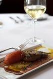 Fois gras mit weißem Wein Stockfoto