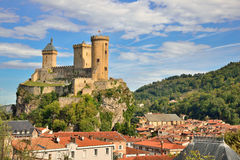 Foix castle dominating the city. Ariege, France royalty free stock photos