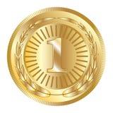 Foki nagrody złota ikona Pusty medal z laurowym wiankiem, odizolowywającym Złoty projekta emblemat Symbol zapewnienie, zwycięzca, zdjęcia royalty free