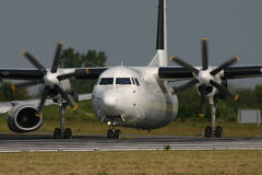 Fokker 50. A Fokker 50 turboprop aircraft Royalty Free Stock Photos