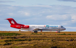 Fokker 100 Airplane. Fokker 100 from Greenland Express at KEF Airport in Iceland Royalty Free Stock Images