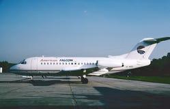 Fokker americano F28-1000 del falco pronto per un altro volo 1993 Fotografia Stock Libera da Diritti