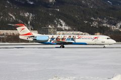 Fokker 70 from Austrian Royalty Free Stock Photos