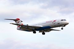 Fokker 100 d'Austrian Airlines Photo stock
