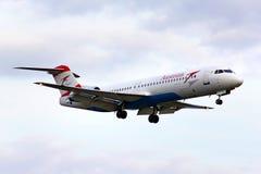 Fokker 100 de Austrian Airlines Foto de archivo