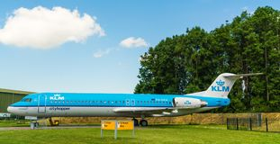 Fokker 100 KLM Cityhopper Airplane displayed at the Aviodrome Airplane museum. Lelystad, The Netherlands, June 18, 2017: Fokker 100 KLM Cityhopper Airplane Stock Image